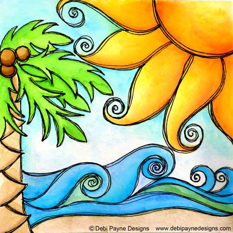 """Tropical Beach"" by Debi Payne of Debi Payne Designs"