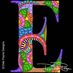 Alphadoodle Letter E by Debi Payne of Debi Payne Designs