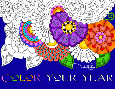 """Color Your Year"" Coloring Book and Calendar by Debi Payne Designs"