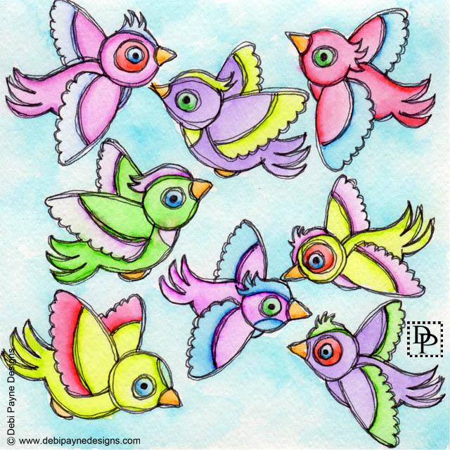 Image:  Eight flying birds
