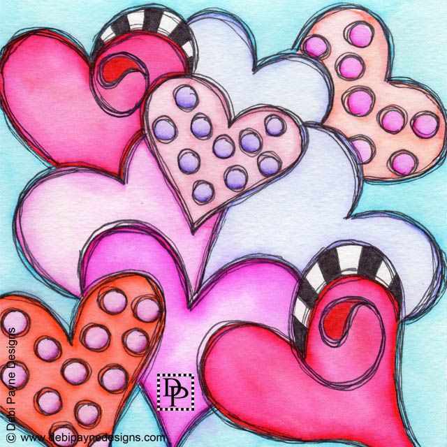 Image:  Nine loving hearts