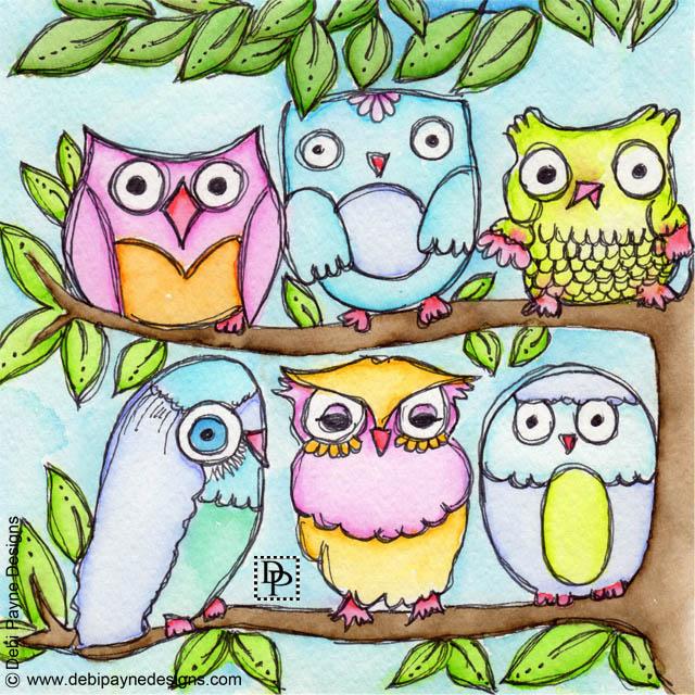 Image:  Six Hooting Owls