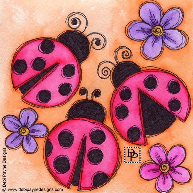 Image:  three ladybugs