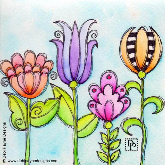 Image:  Four Doodle Flowers