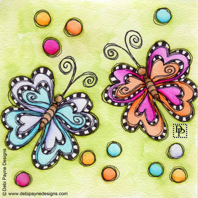 Image:  Two whimsical butterflies