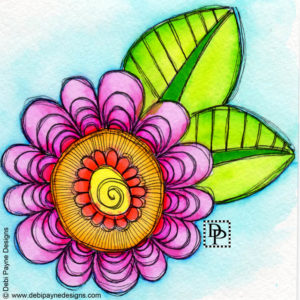 "Image: ""Delight"" Watercolor Doodle Flower"