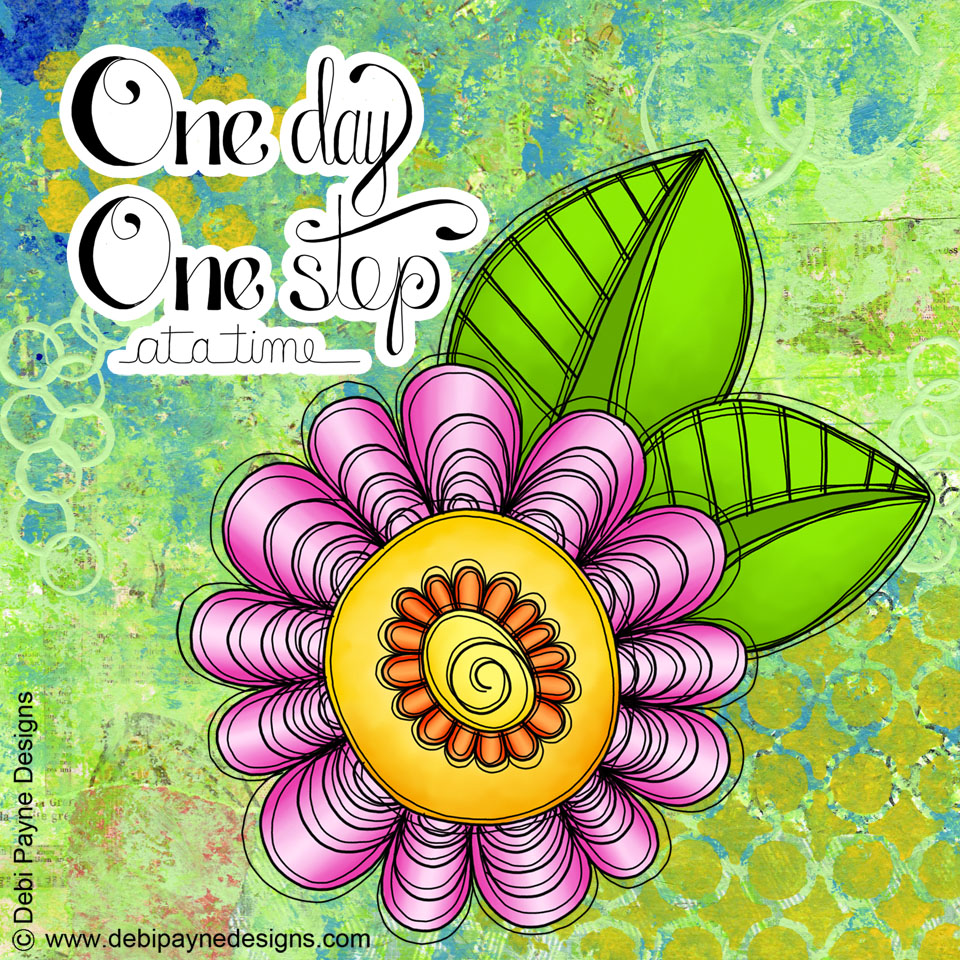"Image: ""Delight"" Doodle Flower with Mixed Media Background"