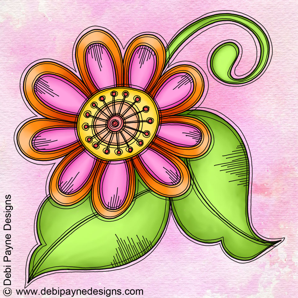 Image: Bliss Doodle Flower with watercolor background