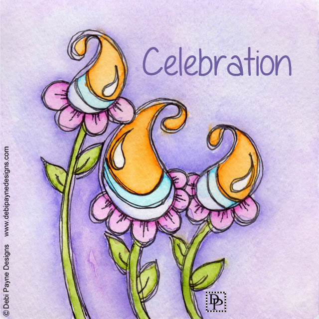 Image: Watercolor Celebration Doodle Flowers