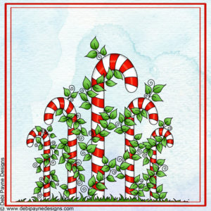 Image: Candy Canes full Image with Watercolor Background