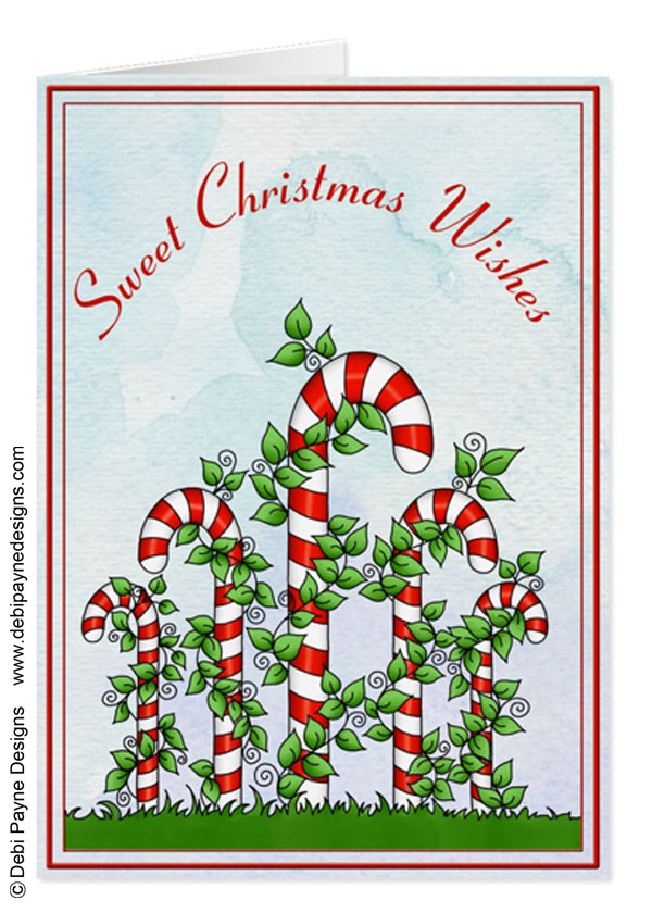 Image: Christmas Candy Canes and Vines Greeting Card