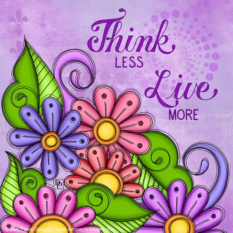 Image: Courageous Doodle Flowers with Mixed Media Background