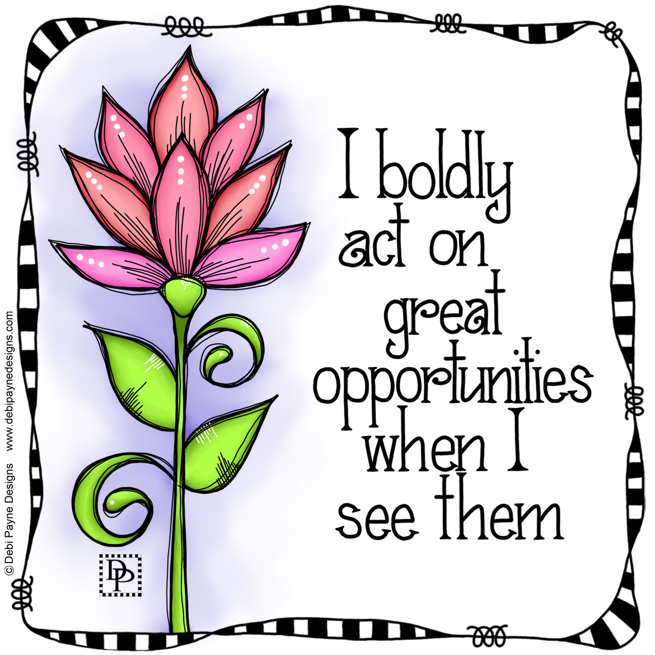 "Image:  Positive affirmation featuring ""Clear"" doodle flower"