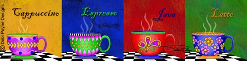 """Tuscan Coffee Cup Collection"" by Debi Payne"