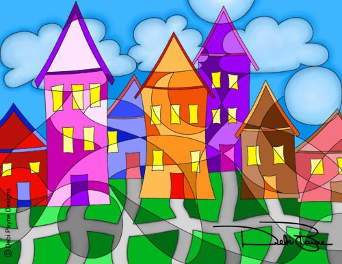 Cubism Houses by Debi Payne