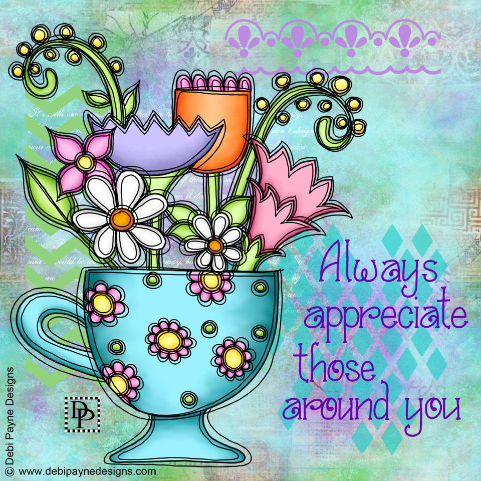 Image: Flowers in Cup with Mixed Media Background