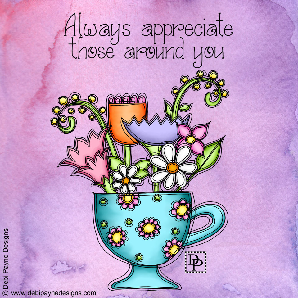 Image: Flowers in Cup with watercolor background.