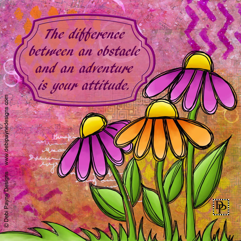 """Image: Mixed Media """"Beaming"""" Doodle Flowers"""