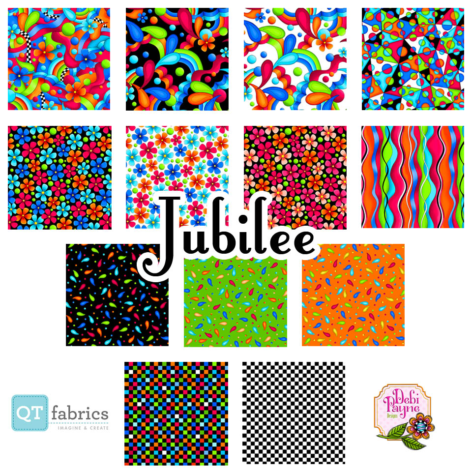 Fabric blocks from the Jubilee Fabric Collection by Debi Payne Designs and produced by QT Fabrics.