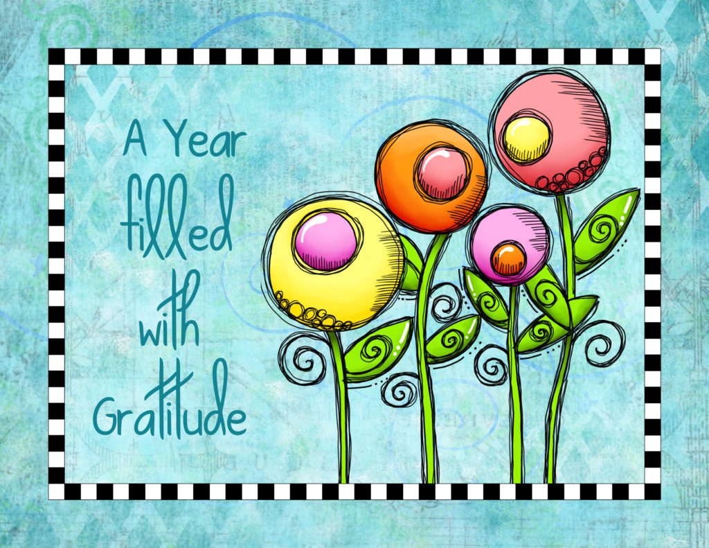 "Calendar cover for ""A Year filled with Gratitude"" by Debi Payne Designs."