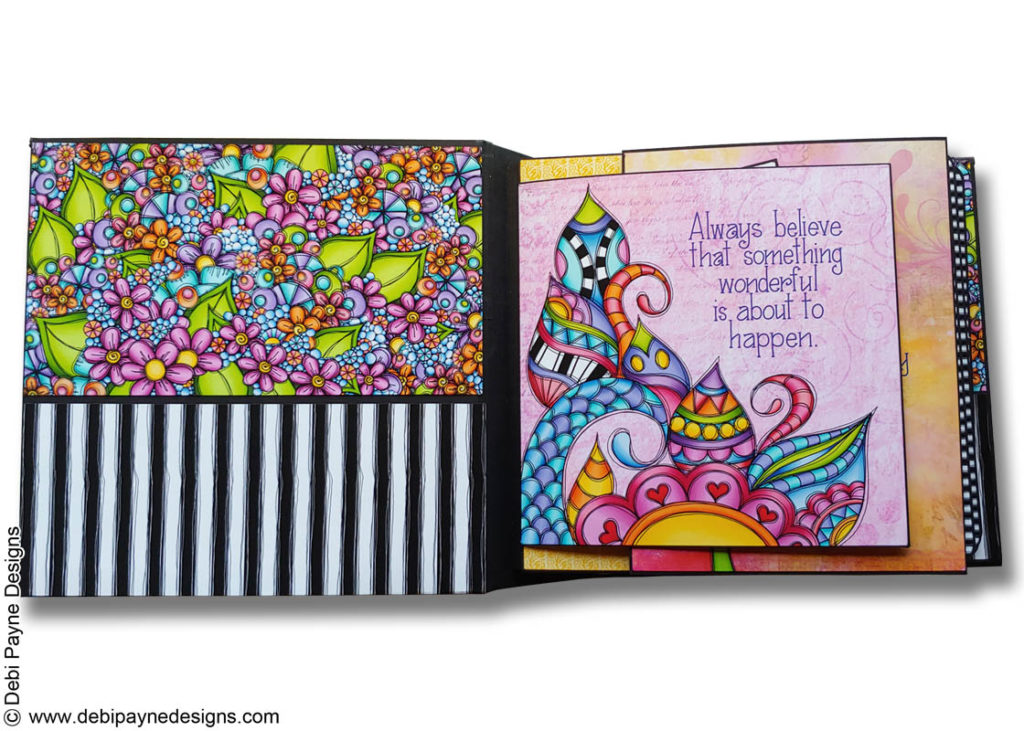 Inside cover image and first page from Little Remindeds Mini Scrapbook Album by Debi Payne Designs.