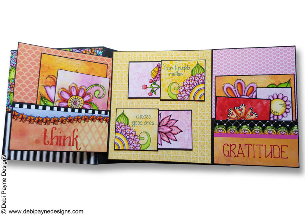 Inside Page 1 - full open from the Little Reminders Mini Scrapbook Album by Debi Payne Designs.