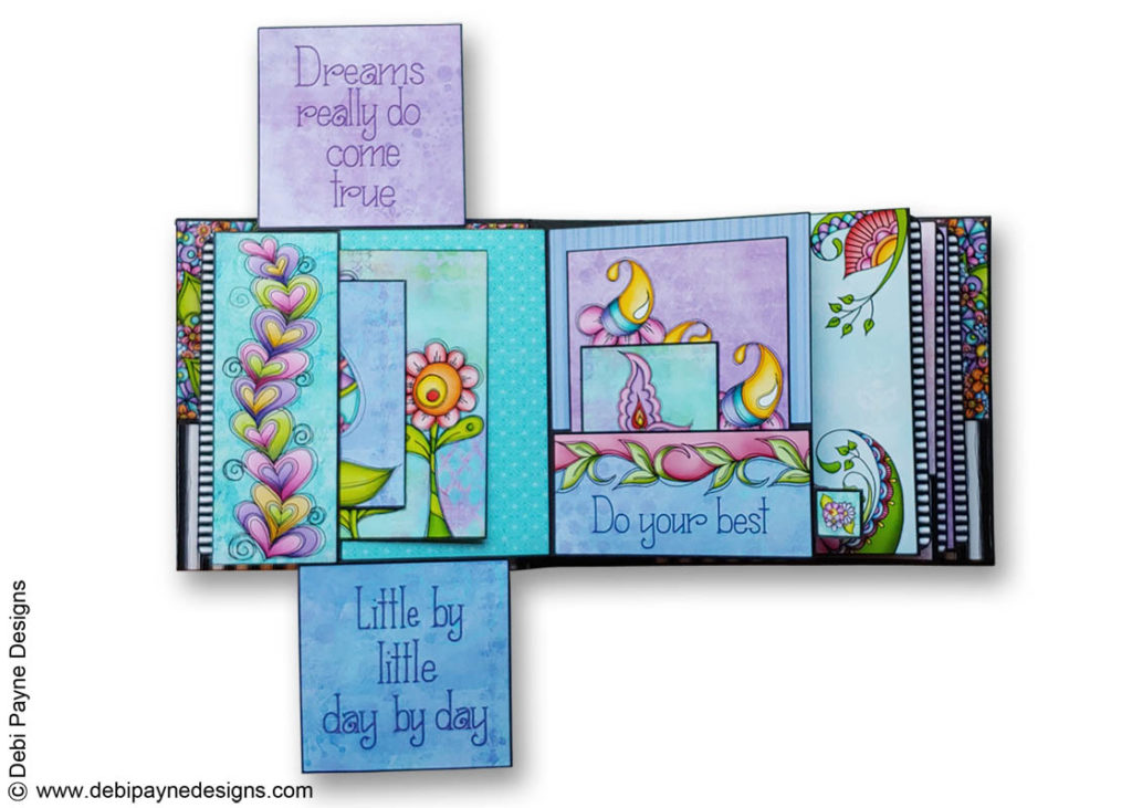 Full open page 2 of the Little Reminders Mini Scrapbook Album by Debi Payne Designs.