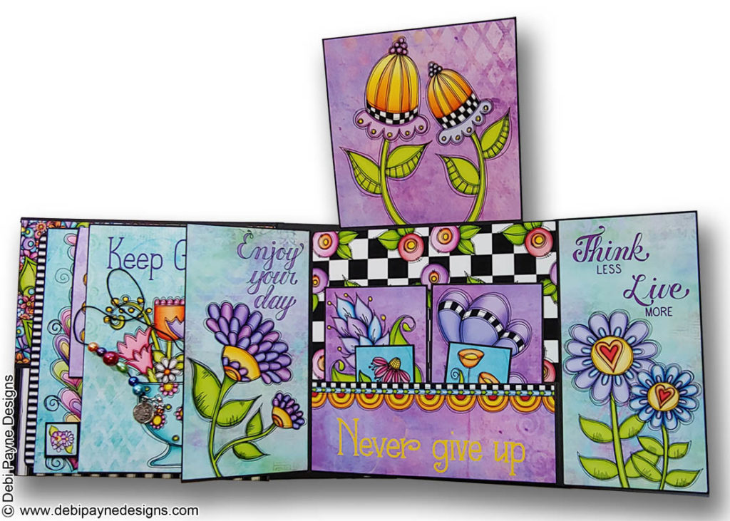 Fully open Page 3 from the Little Reminders Mini Scrapbook Album by Debi Payne Designs.