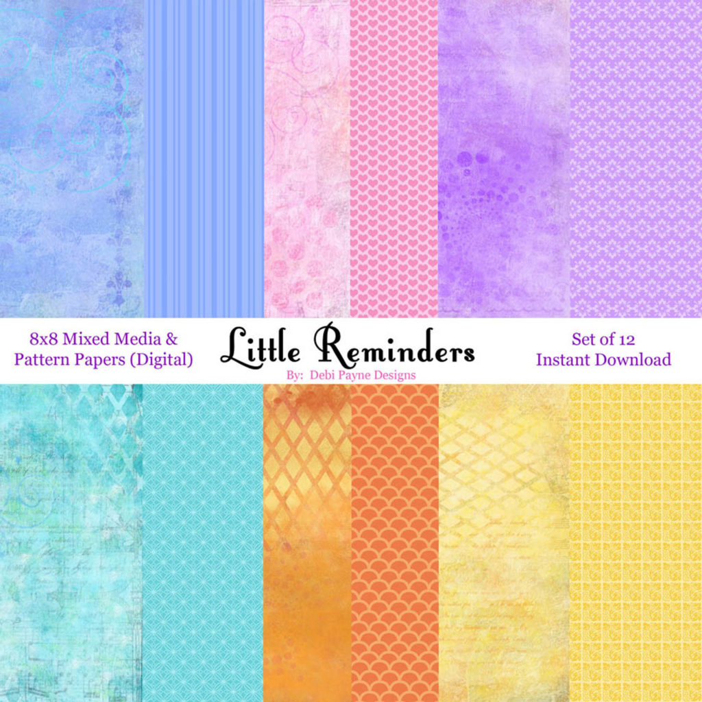 Little Reminders Mixed Media and Patterns downloadable paper collection by Debi Payne Designs on Etsy.