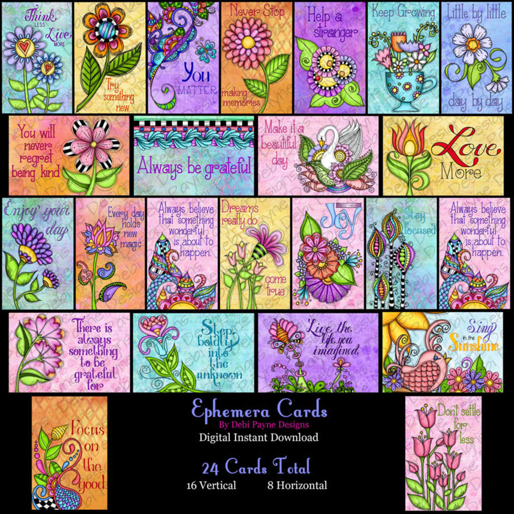 Ephemera Cards from the Little Reminders Collection downloadable from Etsy by Debi Payne Designs.