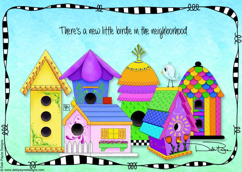 Whimsical bird houses from the Birdie Village Collection by Debi Payne Designs.