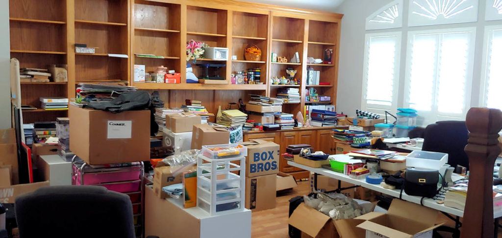 The mess of unpacking in the new Debi Payne Designs Studio.