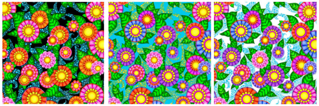 Doodle Flower fabrics from the Alpha Doodle Fabric Collection by Debi Payne Designs.