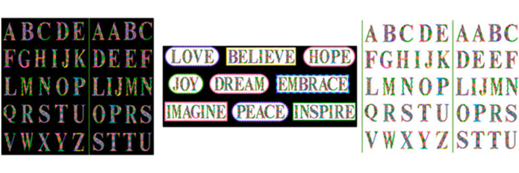 Alphabet Letters and Inspirational Word panels from the Alpha Doodle Fabric Collection by Debi Payne Designs.