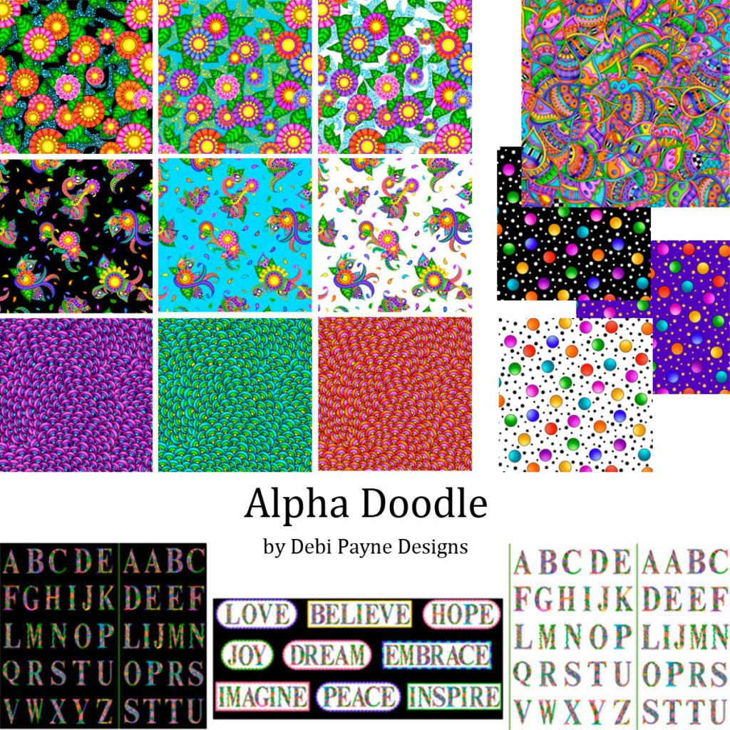 All fabrics included in the Alpha Doodle Fabric Collection by Debi Payne Designs.