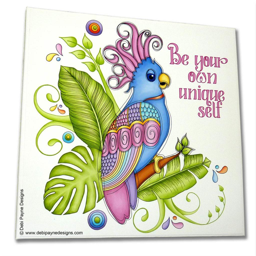 Mini Scrapbook Album front cover featuring Tropical Showbirds Paper Collection by Debi Payne Designs.
