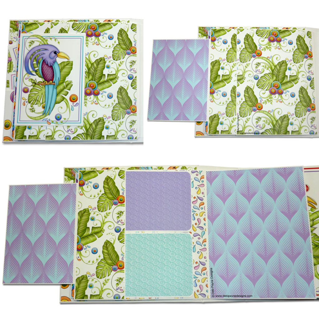 Page 2 of the mini scrapbook album featuring the Tropical Showbirds paper collection by Debi Payne Designs.