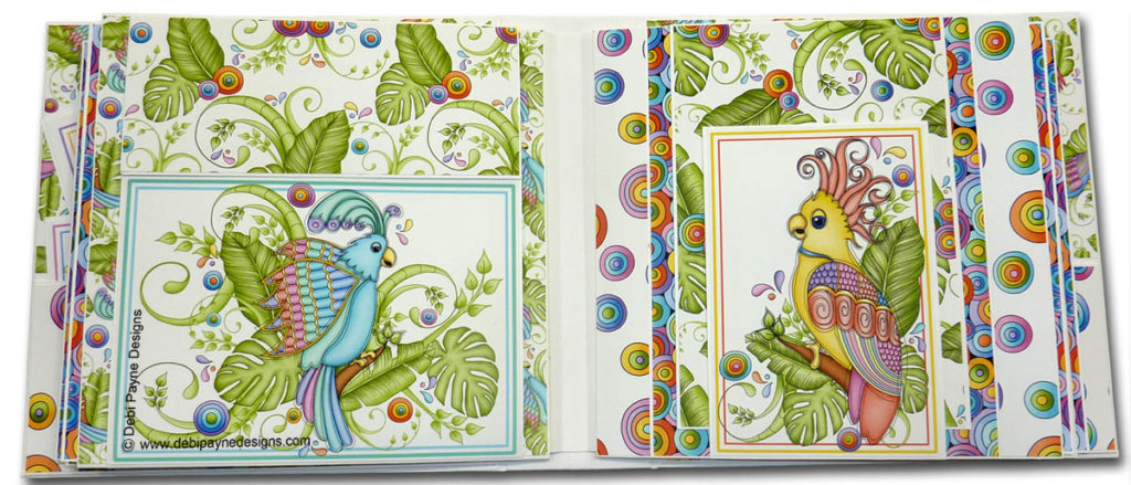 Pages 4 & 5 of the mini scrapbook album featuring the Tropical Showbirds paper collection by Debi Payne Designs.