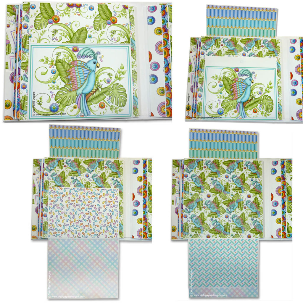 Page 4 of the mini scrapbook album featuring the Tropical Showbirds paper collection by Debi Payne Designs.