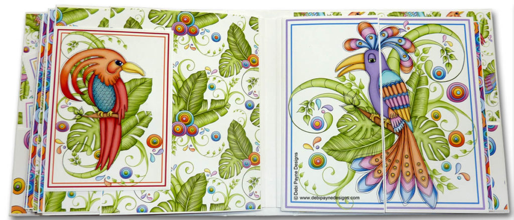 Pages 6 & 7 of the mini scrapbook album featuring the Tropical Showbirds paper collection by Debi Payne Designs.