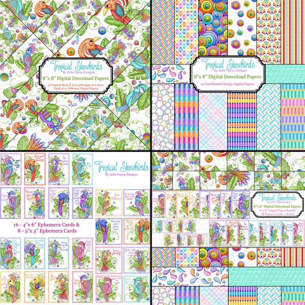 Tropcial Showbirds digital paper collection by Debi Payne Designs.